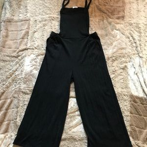 Stretchy Pinafore Style Black Jumpsuit